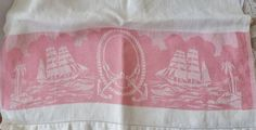 Vintage Kitchen Damask Towel Sail Boats Palm Trees by vintagelady7