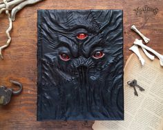 Impressive necronomicon handmade black leather scary by MilleCuirs