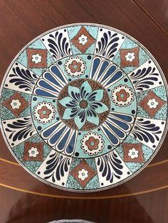 Slab Pottery, Ceramic Pottery, Plate Wall Decor, Deer Pattern, Turkish Art, Blue Tiles, Ceramic Design, Stencil Designs, Pottery Painting