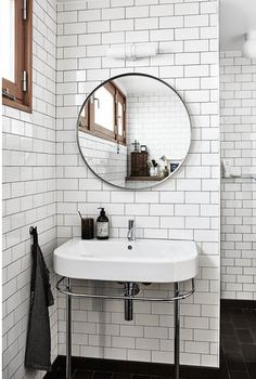 """Rejuvenation 30"""" Metal Framed Mirror for $299 vs Ikea Grundtal Mirror in Stainless Steel for $40 Copy Cat Chic look for less budget home decor and design http://www.copycatchic.com/2016/11/rejuvenation-30-metal-framed-mirror-round.html?utm_campaign=coschedule&utm_source=pinterest&utm_medium=Copy%20Cat%20Chic&utm_content=Rejuvenation%2030%22%20Metal%20Framed%20Mirror%20-%20Round"""