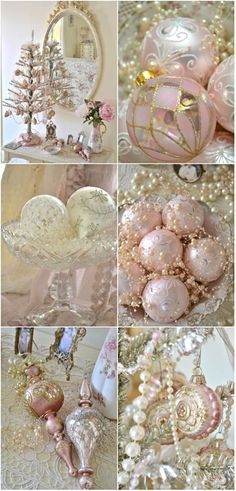 share your favourite Christmas Decorations Pink Christmas. Pink Christmas images in to your beloved Firend and Family. Pink Christmas Tree, Silver Christmas, Noel Christmas, Beautiful Christmas, Vintage Christmas, Christmas Crafts, Christmas Mantles, Shabby Chic Christmas Ornaments, Deco Rose