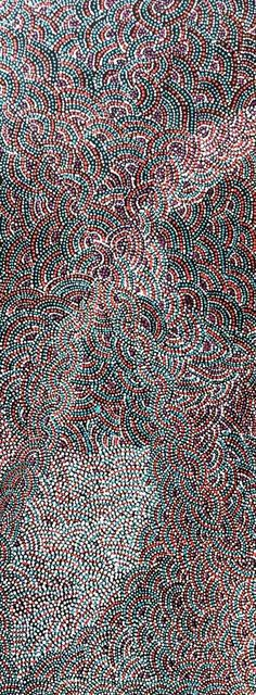 Shopping for Living Coral decor? Original painting by Rosie Pwerle. x Painted with Australian Salmon Gum and Southern Ocean Blue. Australian Aboriginals, Aboriginal Dot Painting, Live Coral, Wooden Walls, Original Paintings, Turkey, Scene, Salmon, Southern