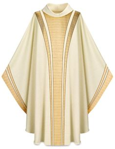 Chasuble: roman cape that includes sides cut shorter to allow movement of the arms.