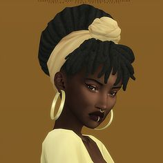 IMANI HAIR - TWO VERSIONS A wonderful dreadlocks bun with two options: with and without bangs; and also a beautiful headwrap. Both versions have the same description and colors. The headwrap acc. The Sims, Sims 4 Cas, Sims 4 Mods Clothes, Sims 4 Clothing, Sims 4 Mm Cc, Sims 1, Work Hairstyles, Dread Hairstyles, Black Hairstyles