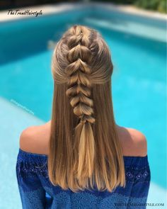 Half Up Pull-Through Braid - 20 Easy Party Hairstyles for Long Hair - The Trending Hairstyle - Page 20 Party Hairstyles For Long Hair, Face Shape Hairstyles, Different Hairstyles, Braided Hairstyles, Hairstyle Short, Medium Hair Styles, Natural Hair Styles, Short Hair Styles, Cornrows