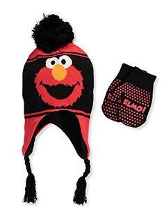 2dce9b5da22 Sesame Street Elmo Boys Scandinavian Hat and Mitten Set size Toddler 2 5   4014