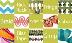 Terrific Trims Tutorial, Rick Rack, Fringe, Braid, Jacquard, Ribbon, Bias Tape and Gimp