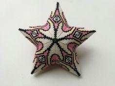 Peyote beaded star , miyuki beads, large size, adapted peyote triangle pattern