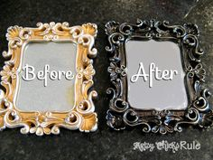 Many Uses of Oil Rubbed Bronze (ORB) Spray Paint and then a little bit of Martha Stewart gold paint to highlight. This site has tons of photos and ideas for ORB projects / Artsy Chicks Rule Spray Paint Mirror, Spray Paint Frames, Best Spray Paint, Copper Spray Paint, Spray Paint Furniture, Mirror Painting, Furniture Repair, Plastic Picture Frames, Metal Photo Frames