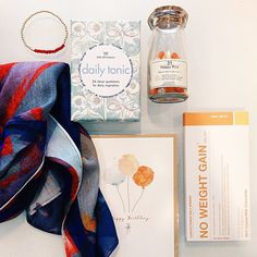Tuesday yay  Front Row Society scarf $59.95  Happy pills $25  No Weight Gain milk Chocolate $7.99  Box of Affirmations $15.99 Gold and Red Bracelet $49  Happy birthday Card $5.95 #marshmellowboutique #happy #pills #frontrowsociety #chocolate #scarf #quote #motivation #funny #gifts #womansfashion #birthday