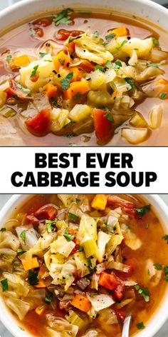 This easy, cabbage soup recipe is the perfect winter soup that has anti-inflammatory benefits and aligns with the cabbage soup diet! It's healthy, low calorie, and great for batchcooking for an easy… Easy Cabbage Soup, Cabbage Soup Diet, Cabbage Soup Recipes, Diet Soup Recipes, Vegetarian Recipes, Pepper Cabbage Recipe, Stuffed Cabbage Soup, Cooking Recipes, Healthy Recepies