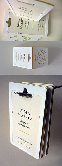 Hand-made business card for designer / manufacturer Dima Marov. Featuring creative texture and typography, card is hand-made, printed on gray and light yellow stock.