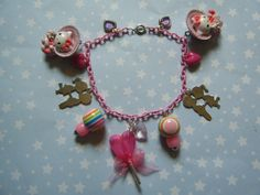 Sweet Lolita Kitty kawaii charm bracelet on pink by indieodyssey, $8.00