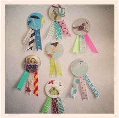 diy Gift Decoration; paper buttons using magazines etc and masking tape.