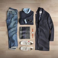 Topcoats on repeat.  Coat: @nonationality07 Italian Wool in Navy Sweater: @nonationality07 Rib Crew  Shoes: @commedesgarcons PLAY X @converse Jack Purcell Shirt: @nonationality07 Chambray  Scarf: @thetiebar Watch: @miansai M12 Denim: RRL @ralphlauren Sunglasses: @rayban Metal Round