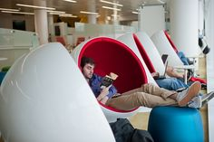 Studying in the Ball chairs, cf google nap pods. http://www.lib.ncsu.edu/huntlibrary/photosandvideogallery