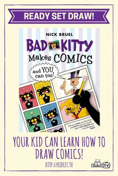 Watch Ready Set Draw by KidLit TV featuring author Nick Bruel - Bad Kitty Makes Comics
