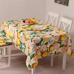 SewCrane Vintage Fresh Lemon Fruits Print table cloth, Multi-color