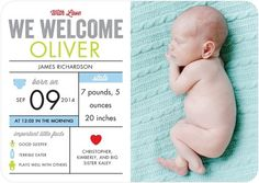 Boy Photo Birth Announcements Newborn Infographic - Front : Chill
