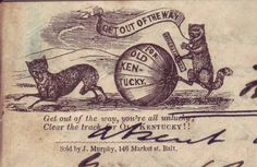 "The image and line refer to a song written during the 1844 presidential campaign for Whig Party nominee Henry Clay. The illustration shows a raccoon holding a document (or stick) labeled ""Constitution,"" and rolling a large ball after a scurrying fox. Considered to be the first modern national campaign, the 1844 contest pitted the Whig, Clay, against Democrat James K. Polk. This being Clay's third presidential race, the Democrats pejoratively dubbed him ""the same old coon"" in reference to his…"