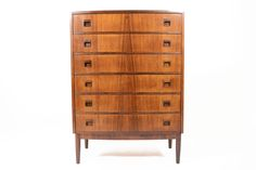 DANISH MODERN BOW FRONT ROSEWOOD HIGHBOY • Mid Century Mobler