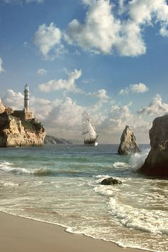Tha Far Side Of The World by Aleksey Golovchenko, via Behance Landscape Photos, Landscape Art, Fantasy Landscape, Landscape Photography, Nature Photography, Beach Pictures, Nature Pictures, Lighthouse Pictures, Boat Art