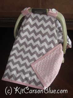 Super Cute Baby Car Seat Covers - CHEVRON in Grey and white and Light Pink Minky .
