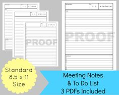 printable meeting notes and to do list for your discbound planner.  great for work- so organized!!
