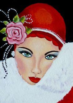 Red - Julies retro Art page: Art Deco Ladies Retro Kunst, Retro Art, Vintage Art, Moda Vintage, Art Deco Illustration, Art Nouveau, Moda Art Deco, Tableaux Vivants, Art Deco Stil