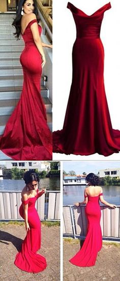 Red Prom Dresses,Mermaid Prom Dress,Satin Prom Dress,Prom Dresses,2017 Formal Gown,Evening Gowns,Party Dress,Mermaid Prom Gown For Teens