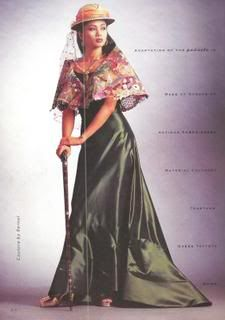 Panuelo - Large triangular, stiffly starched kerchief resting on the shoulders and meeting at some point at the waist. Modern Filipiniana Dress, Filipiniana Wedding, Ethnic Fashion, Asian Fashion, Filipino Fashion, Philippines Fashion, Handsome Boys, Traditional Outfits, Evening Dresses