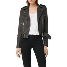 AllSaints Gidley Biker, Dark Slate (875 BAM) ❤ liked on Polyvore featuring outerwear, jackets, dark slate, allsaints, biker style jacket, short jacket, real leather jackets and long sleeve jacket