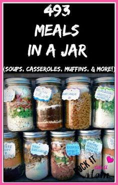 493 Meals In A Jar is part of Mason jar meals - Since we re always looking for ways to stretch your grocery budget, these meals in a jar will be an amazing help in stocking your pantry until it BURSTS! Mason Jar Meals, Mason Jar Gifts, Meals In A Jar, Mason Jars, Mason Jar Recipes, Mason Jar Lunch, Gift Jars, Canning Jars, Soup In A Jar