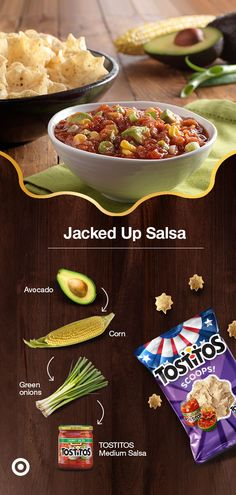 Step up your outdoor party with this Jacked Up Salsa recipe. Dice 1 ripe avocado into cubes. Run knife along 1 cob of corn until all kernels are removed. Add 1 handful of chopped green onions. Pour 1 jar of TOSTITOS Medium Salsa into serving bowl. Add all ingredients into salsa, stir & serve with your choice of crunchy TOSTITOS tortilla chips. Find these ingredients & more at Target. Herb Chicken Recipes, Veggie Recipes, Mexican Food Recipes, Appetizer Recipes, New Recipes, Appetizers, Cooking Recipes, Favorite Recipes, Healthy Snacks