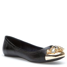 so cute! love this black flat with the gold tip! ahhh :D