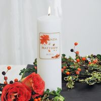 Add a personal, autumnal touch to your unity candle lighting ceremony with our Fall Wedding Unity Candles. This delicately designed wedding essential gives a crisp look, while still remaining sentimental at heart... and who can't appreciate that? Both traditional and contemporary, this is one wedding must have you shouldn't do without! www.CreativeWeddingStyle.com  $35.34