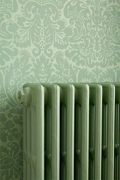 Painted radiators c. Mint Green Aesthetic, Aesthetic Colors, Farrow Ball, Green Theme, Green Colors, Verde Vintage, Sage Green Wallpaper, Images Esthétiques, Sage Color