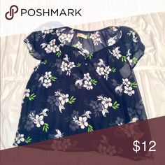 Navy Floral Blouse worn a couple times and in excellent condition! little sign of wear Hollister Tops Blouses