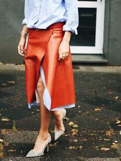 Картинки по запросу wrap around orange leather skirt