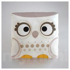 Decorative Mini Pillow, Stuffed Animal, Kawaii Bird, Toy Pillow - Snow Owl by mymimi on Etsy