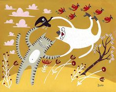 Dancing Cats With Birds - 8x10 Art Illustration in Gold and Yellow, Red, Pink, Grey Tiger Tabby and White Cat. $55.00, via Etsy.
