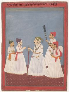 Prince with Four Attendants by Sri Prathi Singh of Ratlam, late 18th–early 19th C. Rajasthan, India. The Met.