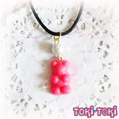 **NO GUMMY BEARS WHERE HARMED IN THE MAKING OF THIS CHOKER**  ♥ This Gummy Bear is a real-size charm made out from polymer clay. It is a neon pink