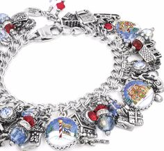 Silver Charm Bracelet, Christmas Bracelet, Santa Workshop, Toy Factory - Blackberry Designs Jewelry