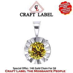 """1/40 Ct Yellow Genuine Diamond 18K Gold Solitaire Pendant Without Chain """"Mother\'s Day Gift"""". Starting at $89"""