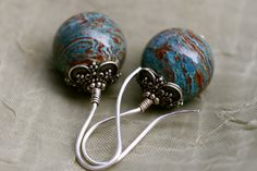 Sterling Boho Rustic *Earth View* Boho earrings-blue ocean Jasper,sterling silver,boho ethnic,large ball,unusual,unique,earthy,solitary