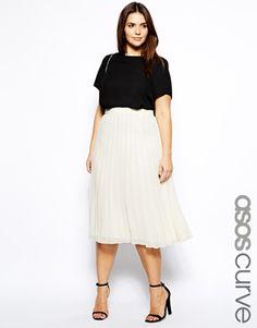 Image 1 ofASOS CURVE Midi Skirt With Pleats