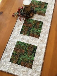 Table Runner with Pine Sprigs and Pine Cones Cabin Decor – Patchwork Mountain Patchwork Table Runner, Table Runner Pattern, Quilted Table Runners, Table Topper Patterns, Quilted Table Toppers, Place Mats Quilted, Elegant Table, Pine Cones, Wooden Snowmen