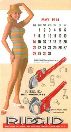 ridgid tools calendar 1961 - Google Search Hex Wrench, Plumbing Tools, Calendar Girls, These Girls, Pin Up, Fun Stuff