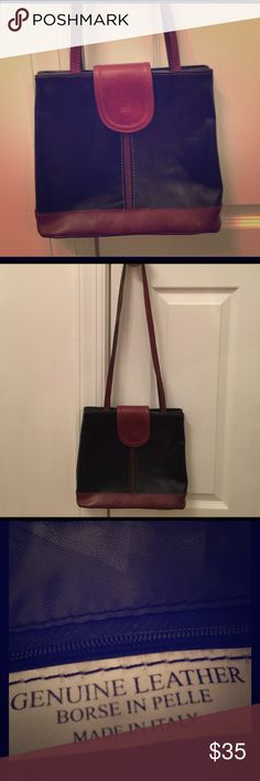 Italian Leather Shoulder Bag Never used black with brown trim Italian leather shoulder bag Bags Shoulder Bags